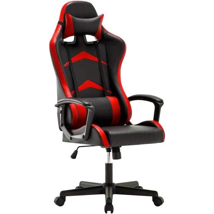 chaise gaming ergonomique fauteuil de bureau pivotant avec appui tete et soutien lombaire ajustables rouge intimate wm heart