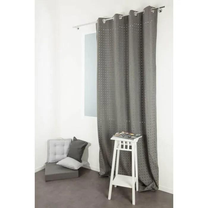 rideau contemporain 140 x 250 cm a oeillets style industriel tissu aspect feutrine motif a pois decoupe gris galet