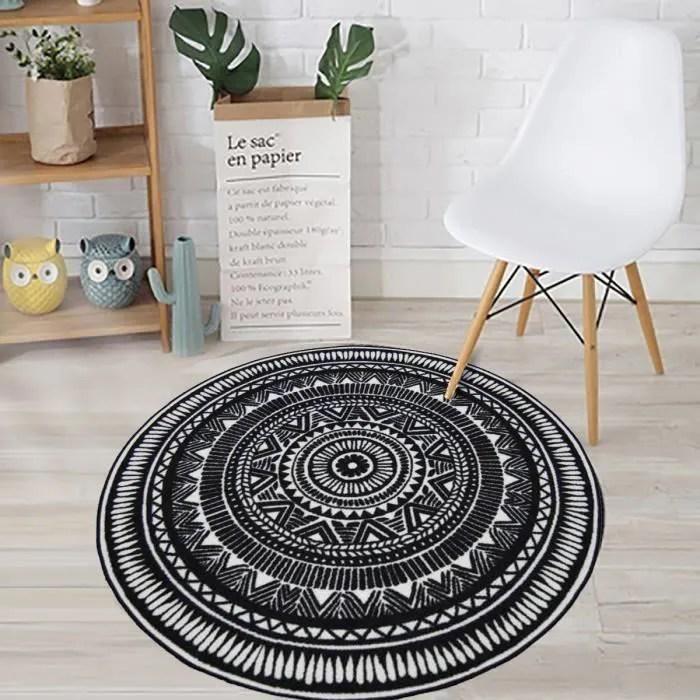 tapis rond noir