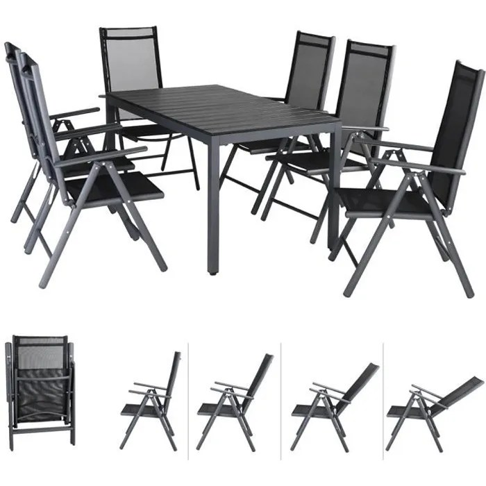 salon de jardin aluminium anthracite bern 1 table
