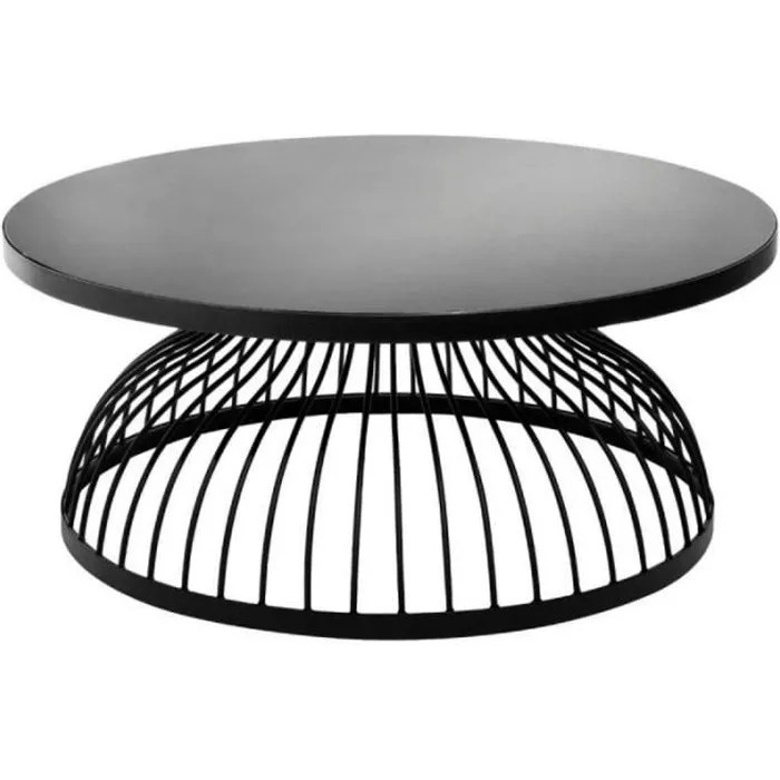 table basse ronde design kushi 90cm noir