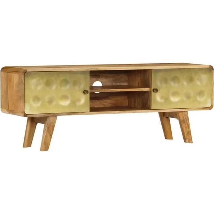 meuble tv avec imprime dore style vintage bois