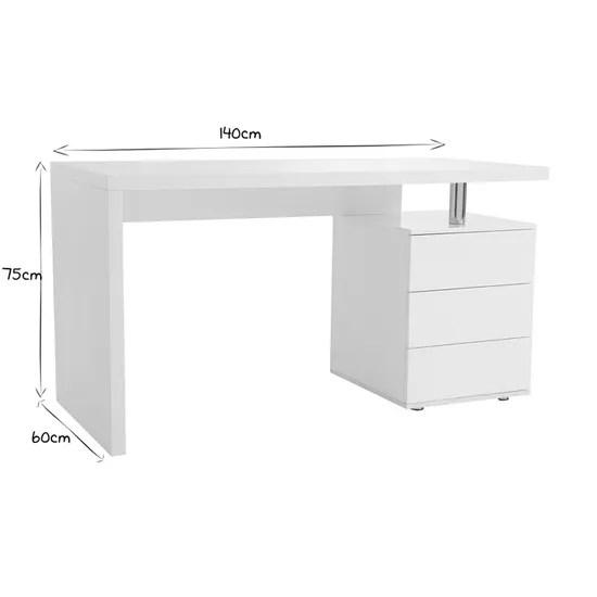 bureau design blanc laque 3 tiroirs