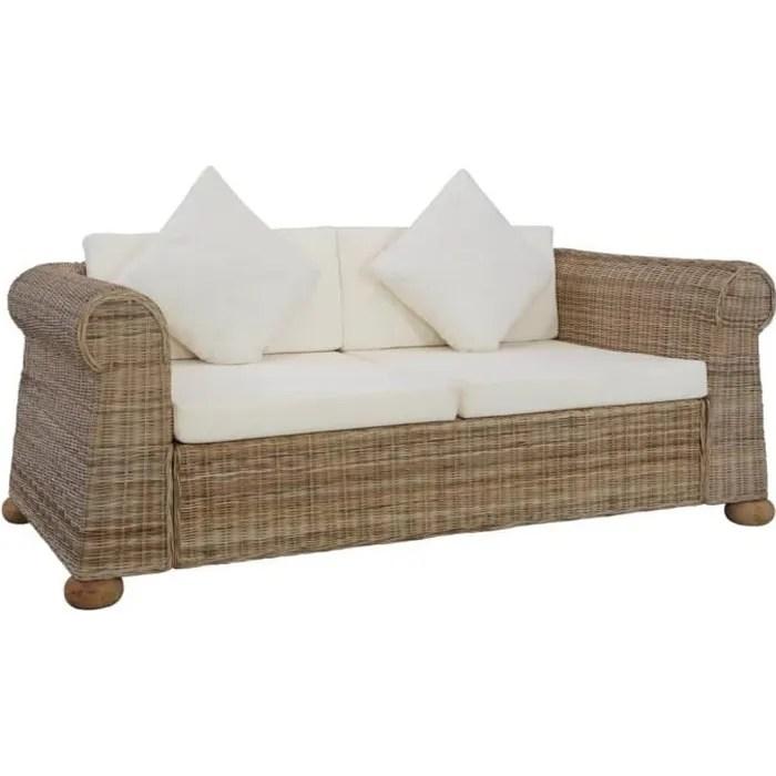 salon de jardin canape 2 places avec coussins rotin naturel fac