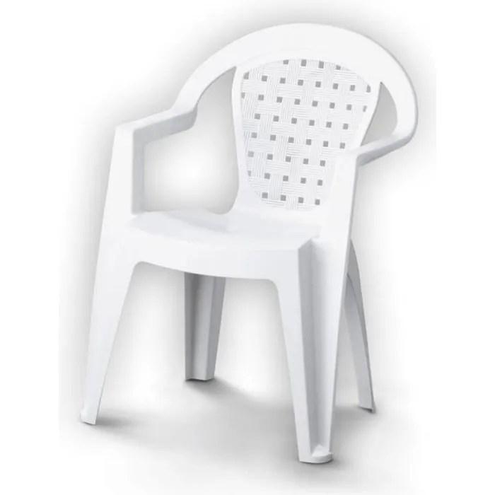 chaise de jardin norma en plastique resine blanc