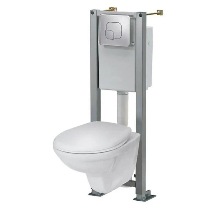 pack wc suspendu plaque grise cuvette