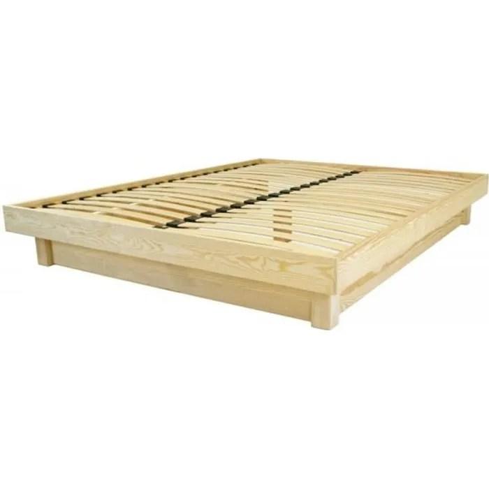 lit plateforme bois massif pas cher brut 140x19