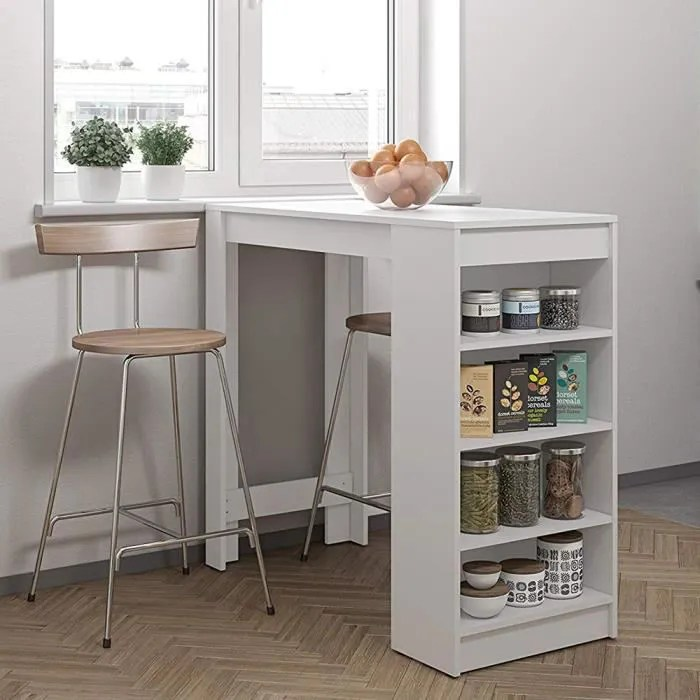 mange debout table bar blanc