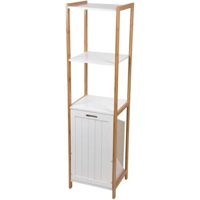 meuble 3 etageres avec panier a linge bambou blanc