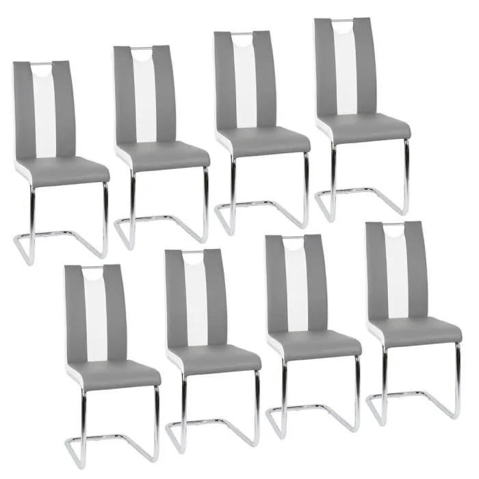 lot de 8 chaises grises et blanches pour salle a manger