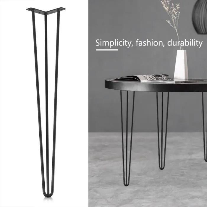 pied de table ensemble de 4 pieds de table en fer forge noir a trois pieds 30 pouces swt