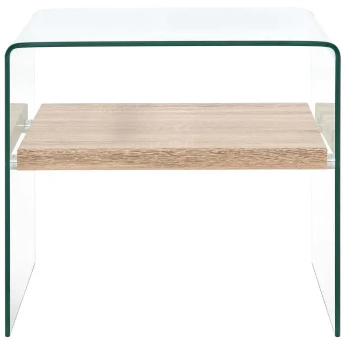 table basse clair 50 x 50 x 45 cm verre trempe transparent moo