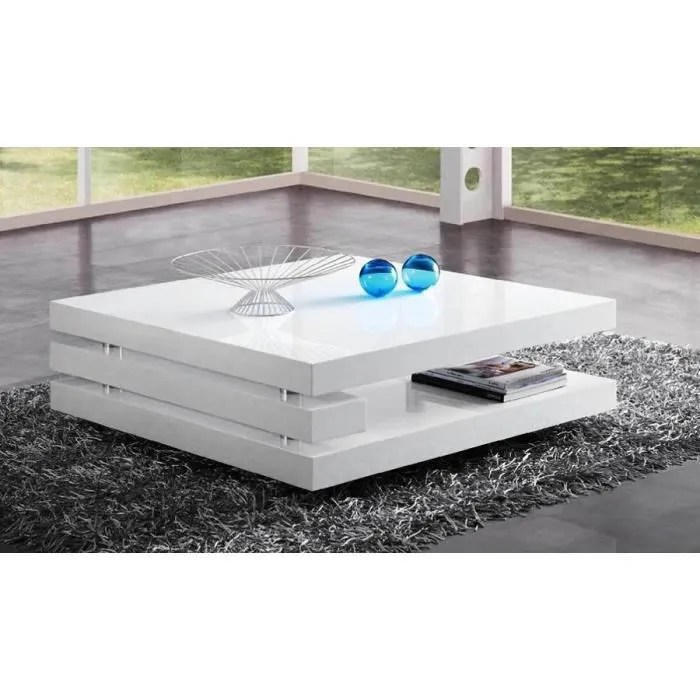table basse blanc laque design adriana 2 l 100 x p 100 x h 34 cm blanc