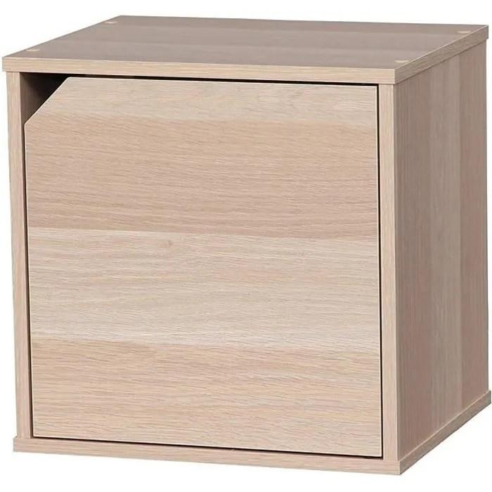 iris ohyama cube de rangement modulable avec porte en bois mdf cube box qr 34d beige 34 9 x 29 x 34 4 cm