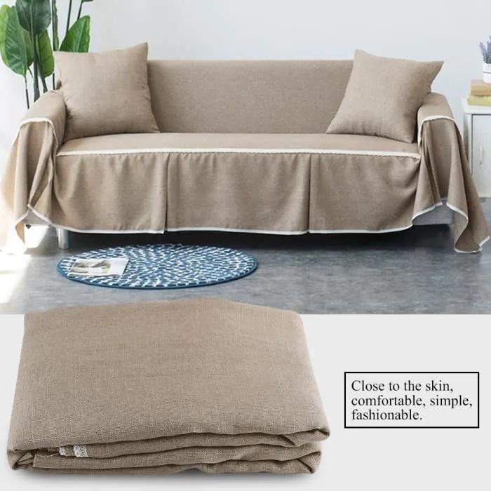 housse de canape en tissu imitation lin protecteur couverture de sofa housse de fauteuil canape protection 3places marron tam