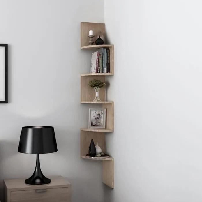 freestyle etagere meuble d angle zig zag design contemporain 5 niveaux en bois