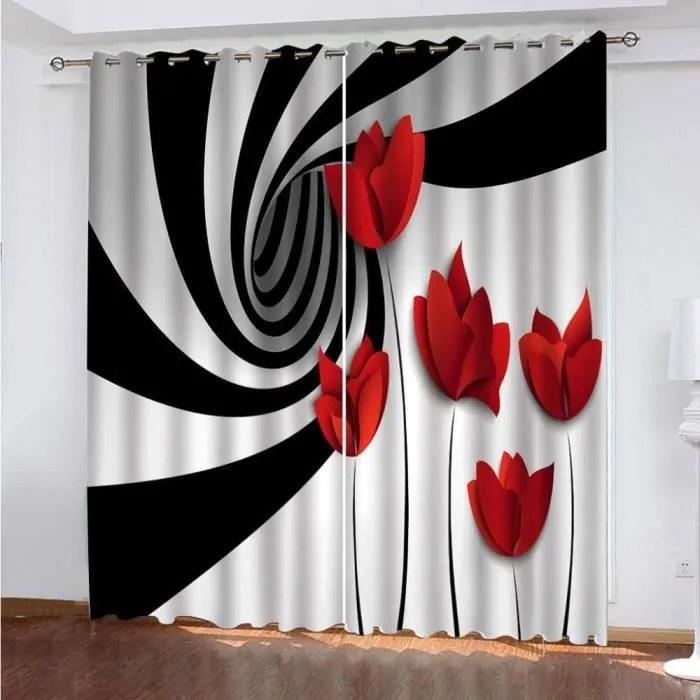 double rideaux rouge et noir