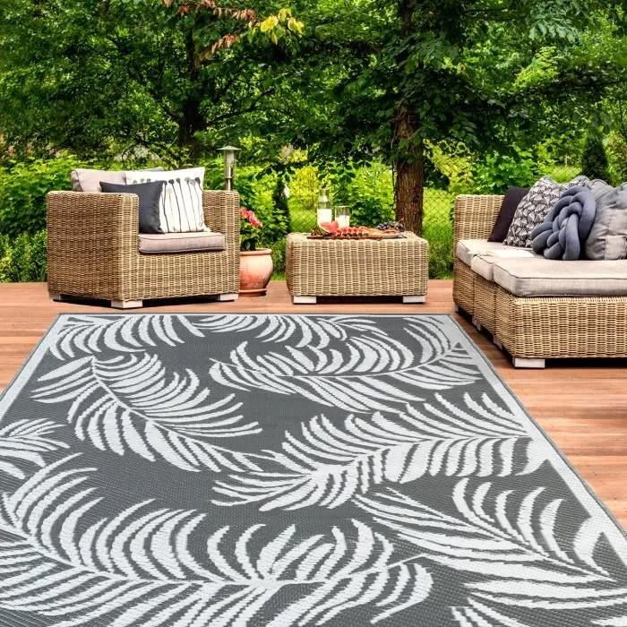 tapis exterieur coco tropical gris et blanc 160x26