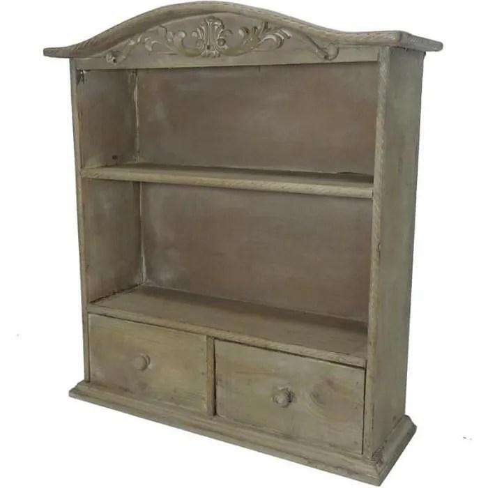 petite armoire a tiroirs a poser ou etagere murale 2 etages 2 tiroirs a fixer en bois patine marron 16x43x48cm