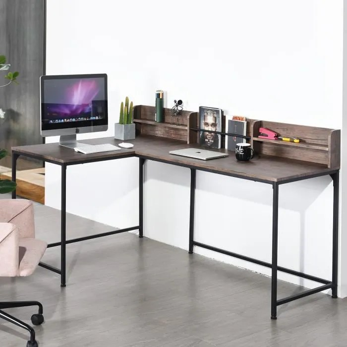 homy casa bureau d angle industriel style bureau informatique en mdf marron