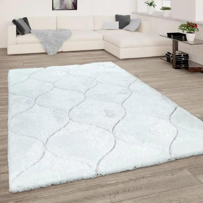 tapis de salon shaggy blanc poils longs doux moelleux design 3d motif vagues 160x220 cm