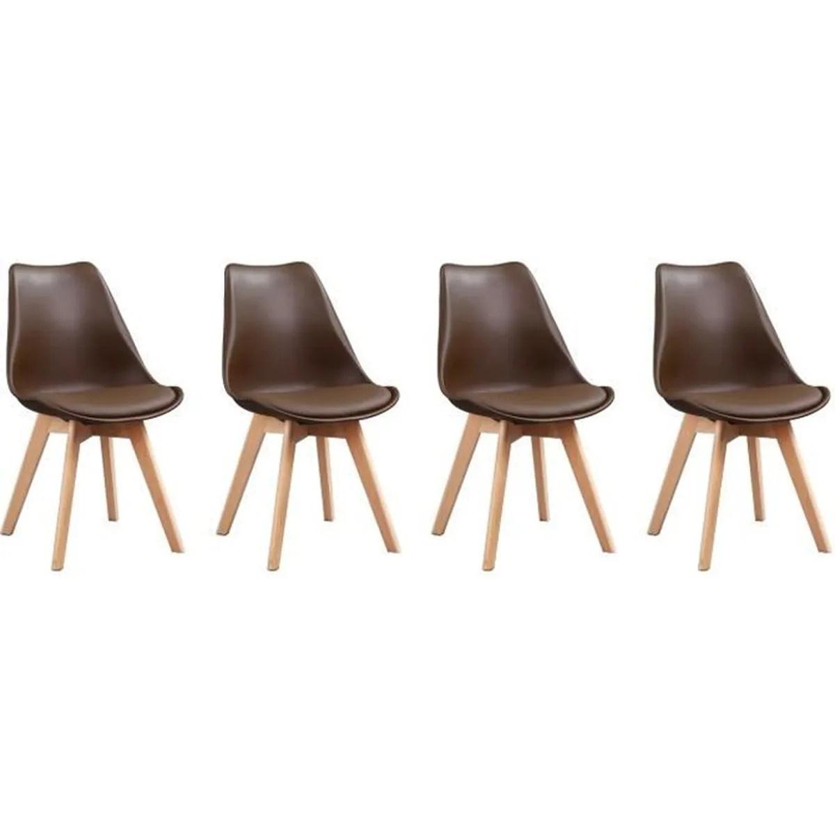 4 chaises scandinaves nora marron