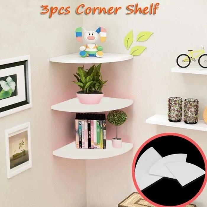 3pcs support stockage mural etagere coin flottant meubles bureau decoration bob