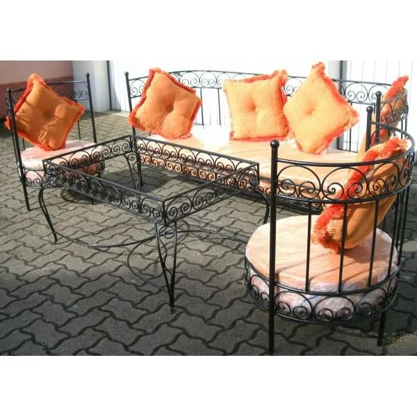 salon marocain complet orange en fer