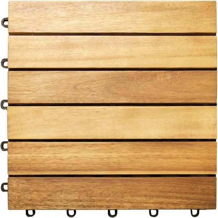 33x dalles de terrasse en bois d acacia pour 3m