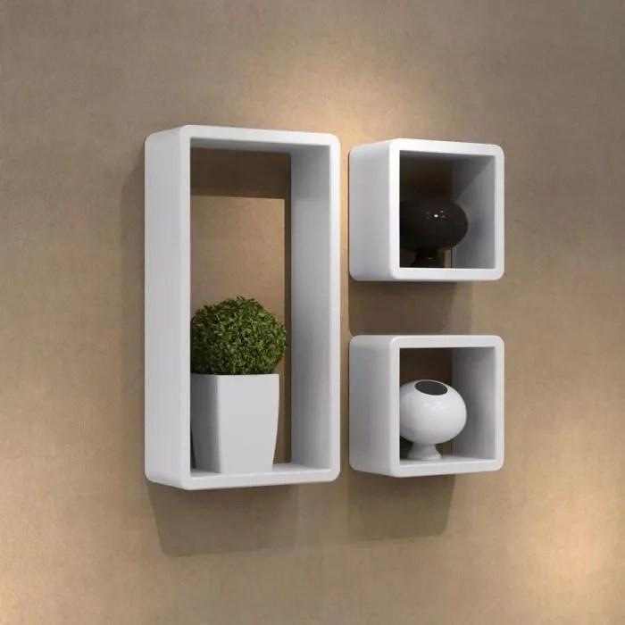 etagere bibliotheque design salon design murale 3 cubes blanc mdf 42 x 22 x 10