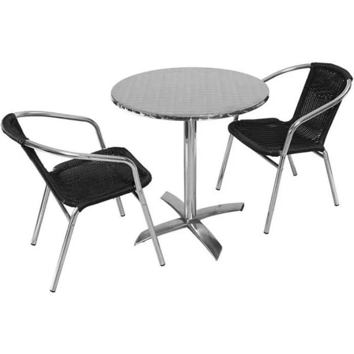 table de jardin ronde rabattable en aluminium et 2 fauteuils ensemble pour terrasse 2 personnes