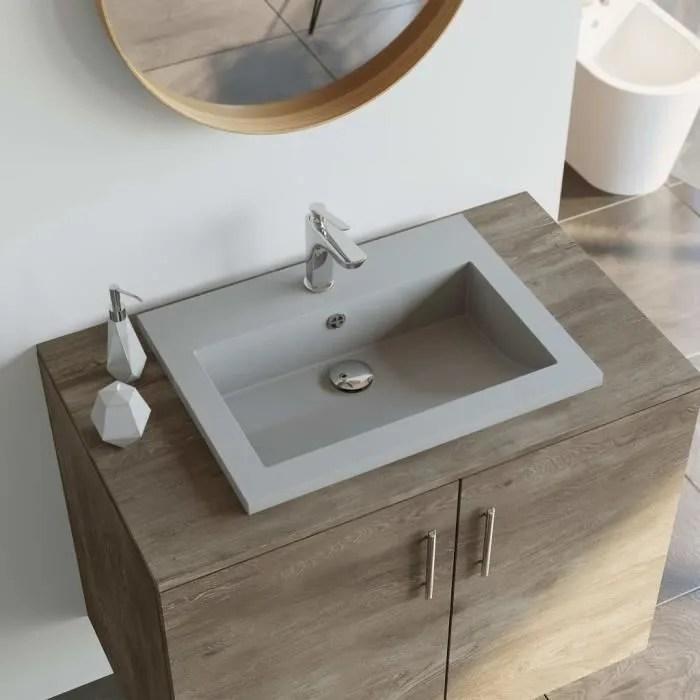 lavabo vasque a poser salle de bain en granit 600 x 450 x 120 mm gris