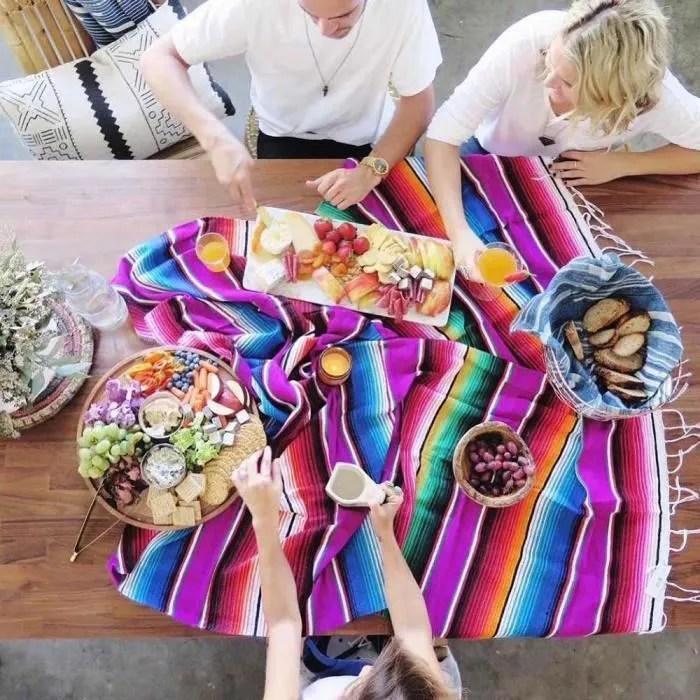 couverture multicolore de style mexicain canape bo
