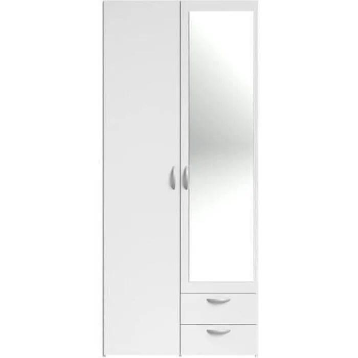 varia armoire 2 portes miroir decor blanc l 81 x p 51 x h 185 cm