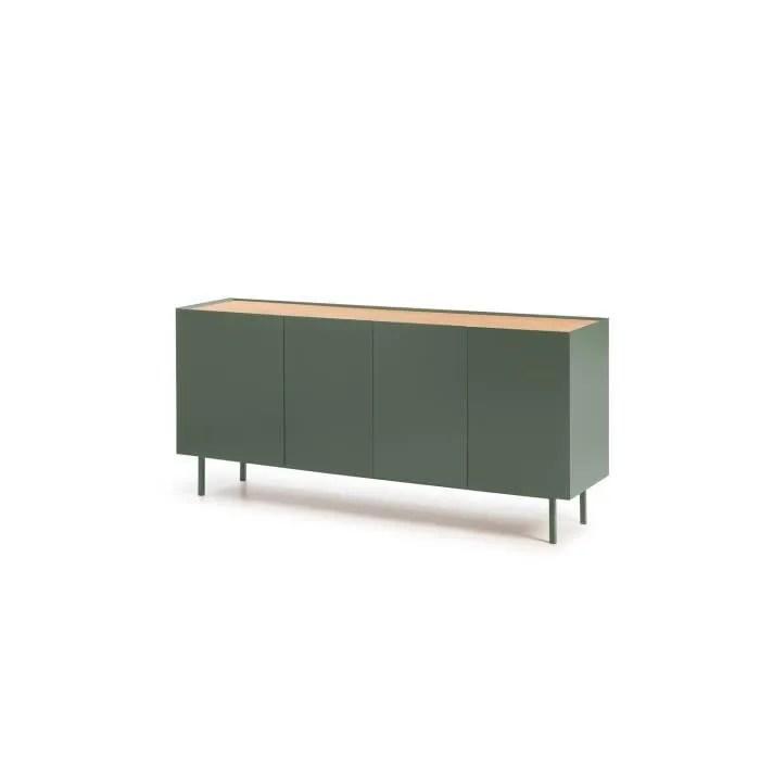 arista buffet bas 4 portes 3 tiroirs decor chene et vert clair l 165 x p 40 x h 78 cm