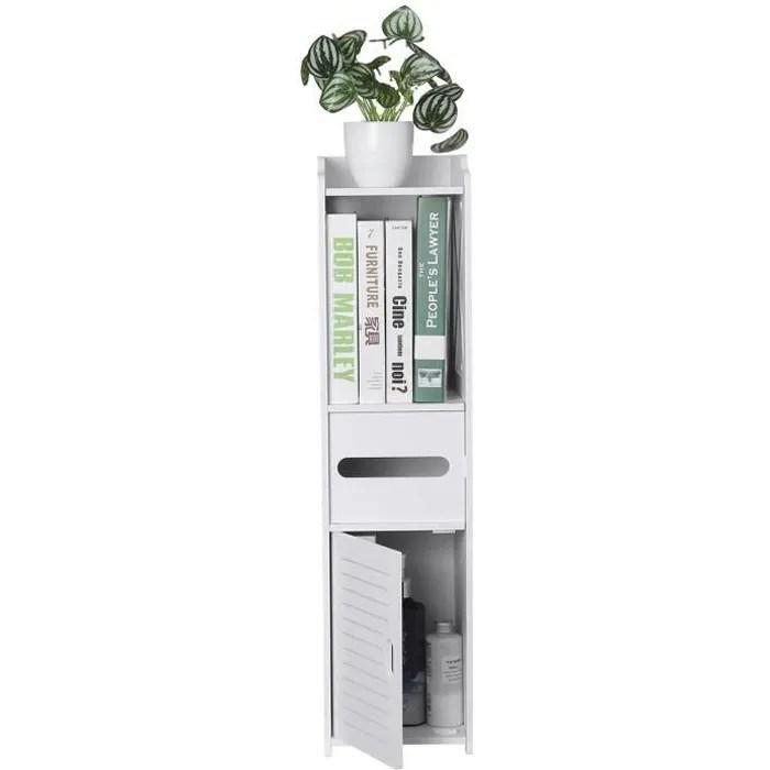 armoire de rangement meuble toilette etagere de salle de bain 25 x 20 x 80 cm