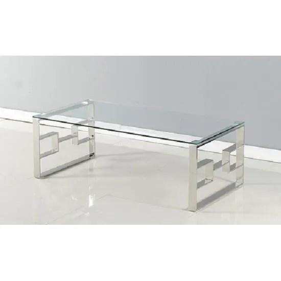 table basse moderne et design verre et inox trevi