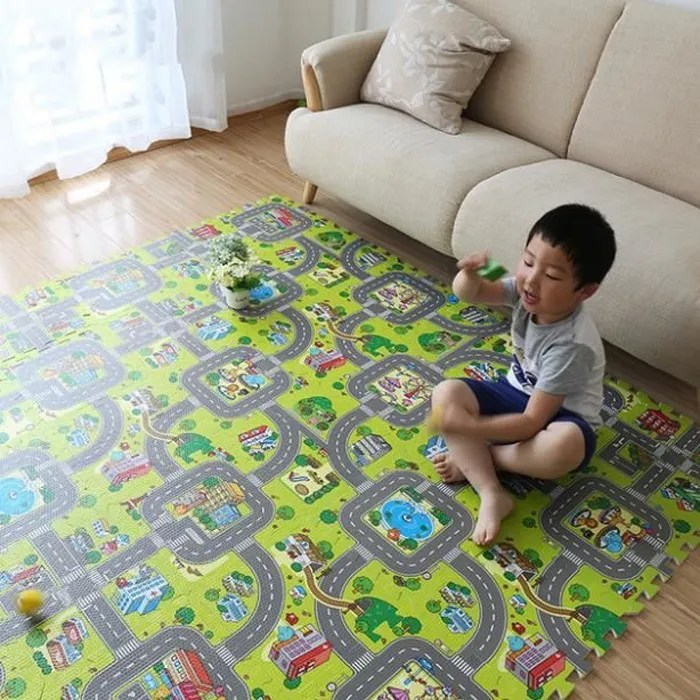 tapis de sol puzzle 9 pcs circuit de route tapis d
