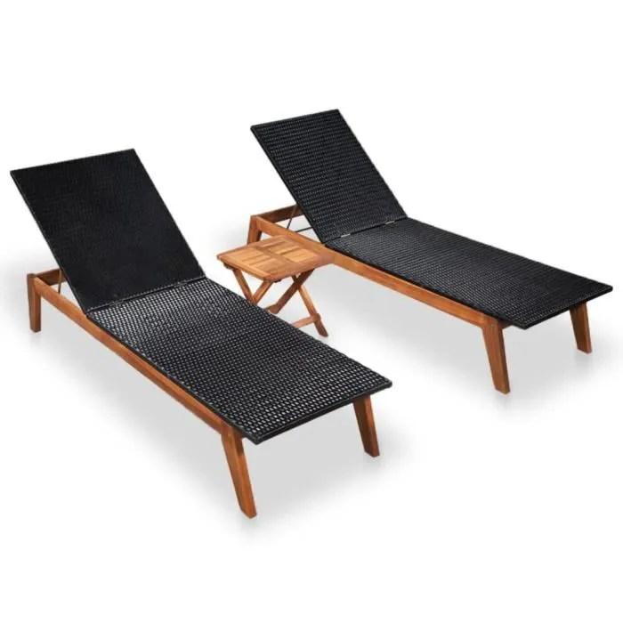 soleil transat chaise camping 2 pcs