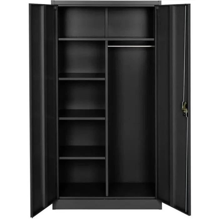 vestiaire metallique 5 niveaux avec penderie integree noir 0708097