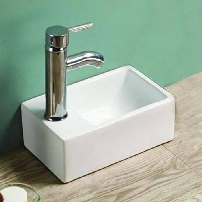 petit lave main gain de place gauche ceramique