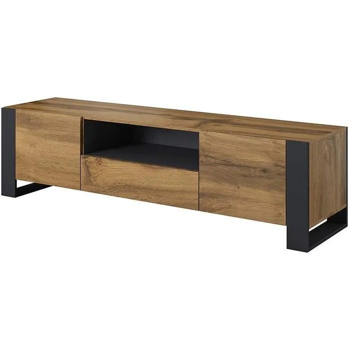 nunki meuble tv bas en chene anthracite