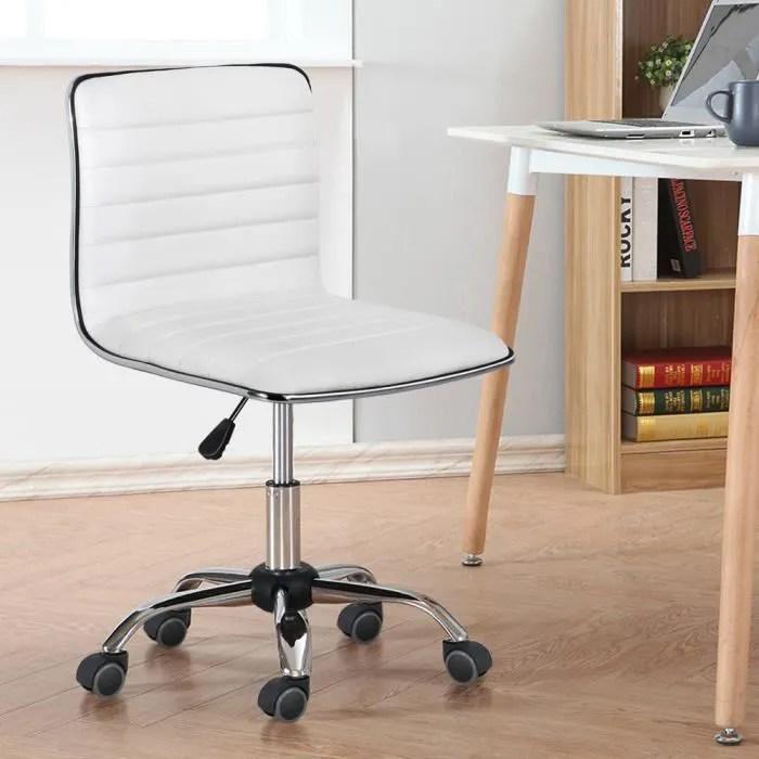 yaheetech chaise de bureau sans accoudoir hauteur reglable simili cuire blanc l 43 x l 45 5 cm