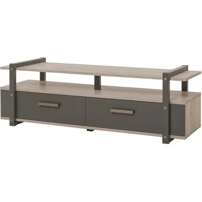 brooklyn meuble tv industriel decor chene et gris