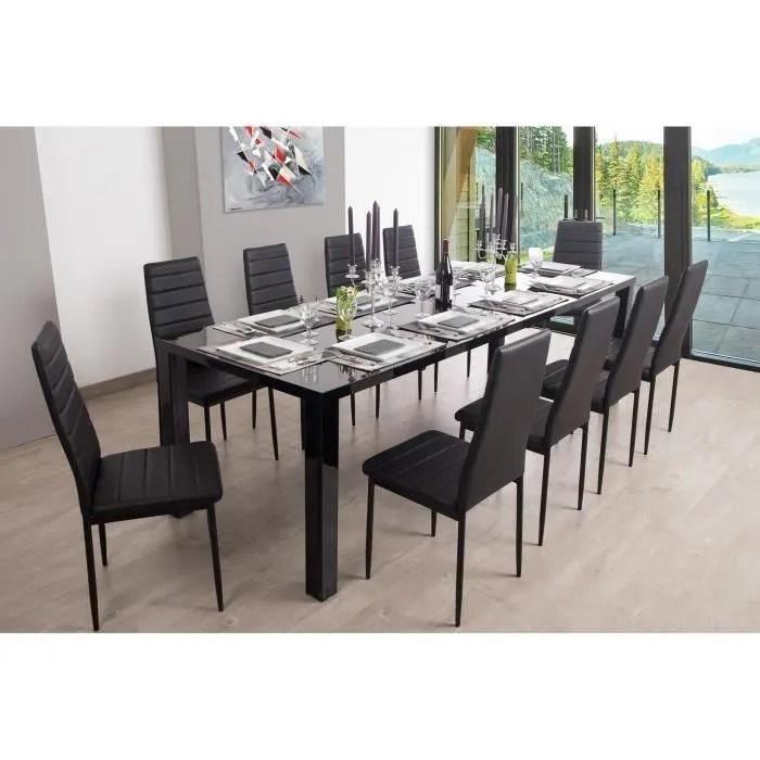 ashlow table a manger extensible de 8 a 10 personnes style contemporain en mdf pieds en acier laque noir l 160 250 x l 90 cm