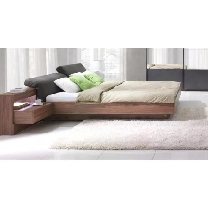 lit coffre renato sommier tables de chevet integrees avec led couchage 160x200 cm ideal pour votre chambre marron