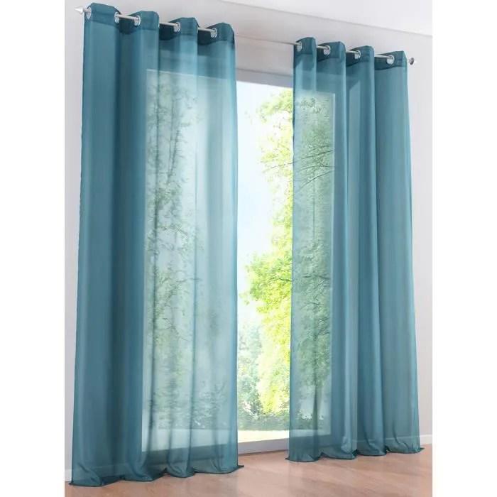 1pc rideau voilage a oeillets lxh 140x245cm bleu p