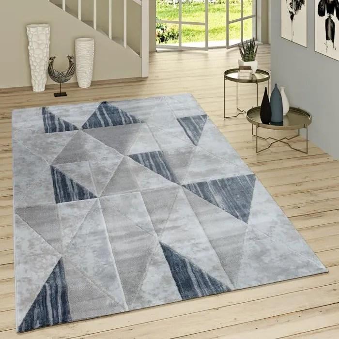 tapis poils ras moderne losanges motif gris bleu