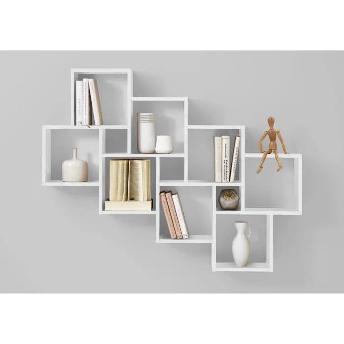Fmd Etagere Murale Avec 11 Compartiments Blanc Cdiscount Maison