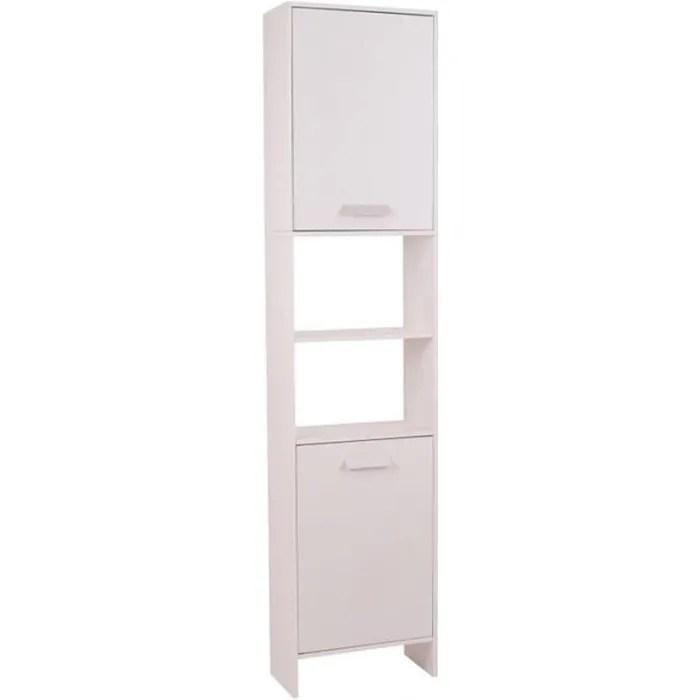 meuble colonne salle de bain design lea en bois blanc